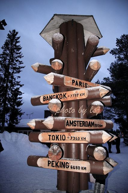 Santa Claus Village at the Arctic Circle in Rovaniemi, Lapland - Finland. That's where I spent Christmas when I was 13!