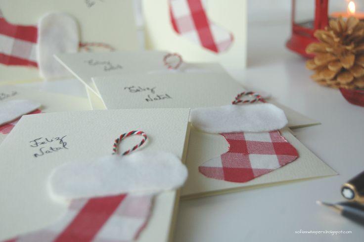 handmade Christmas cards; cartões de Natal feitos à mão.