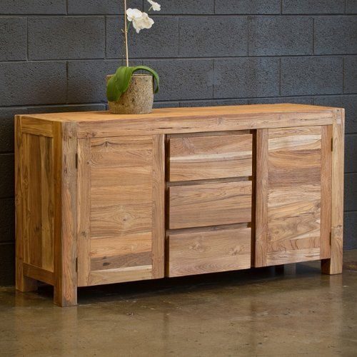 Reclaimed Teak Simple Buffet by CG Sparks. $925.24. Sandblasted textured  finish. Natural teak