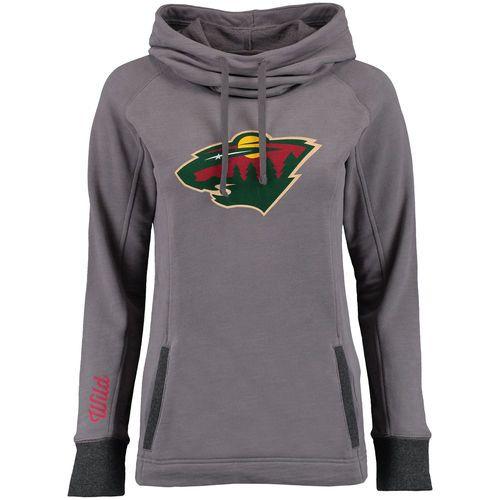 Women's Minnesota Wild Gray Laguna Cowl Neck Pullover Sweatshirt