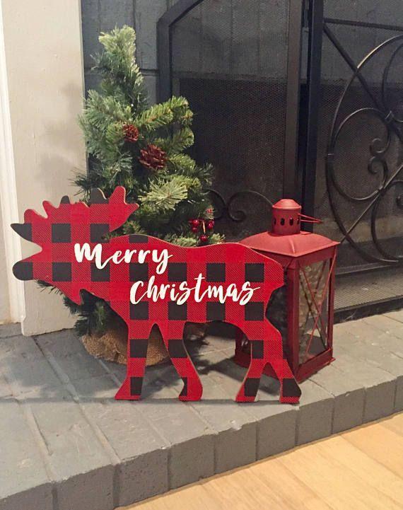 Moose Christmas decoration buffalo check Christmas Rustic #moose - moose christmas decorations