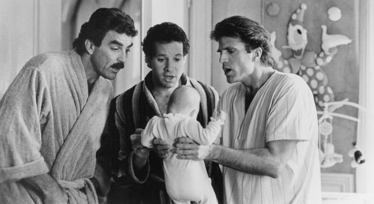 1987 Steve Guttenberg, Tom Selleck, and Ted Danson in 3 Men and a Baby