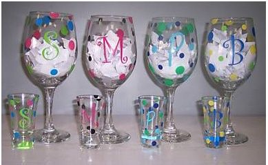 DIY painted wine glasses! like the matching shot glasses, love the idea.