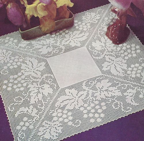 Vintage Crochet Pattern Grape Leaves Filet Doily Motif GrapeGardenFilet Mar...