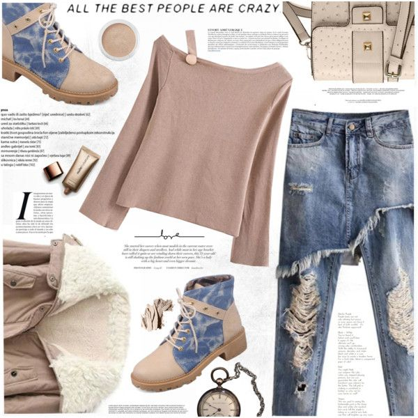 Ripped Jeans for Winter by katjuncica on Polyvore featuring Nude by Nature, Bare Escentuals, Bobbi Brown Cosmetics, Anja, StreetStyle, Winter, rippedjeans, Laceupankleboots and boatneckjumper