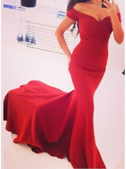 Pure Color Mermaid Off-the-Shoulder Court Train Evening Dress & casual Evening Dresses