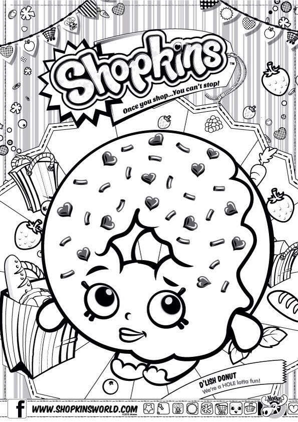 Shopkins Colour Color Page Delish Donut ShopkinsWorld