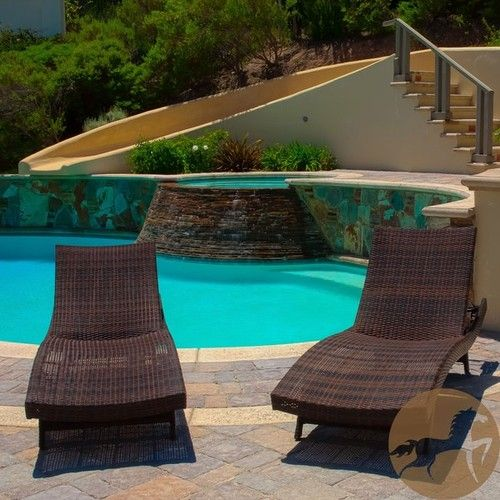 Brown Wicker Adjustable Chaise Lounge Chair (Set Of 2) Outdoor Patio  Furniture. Free