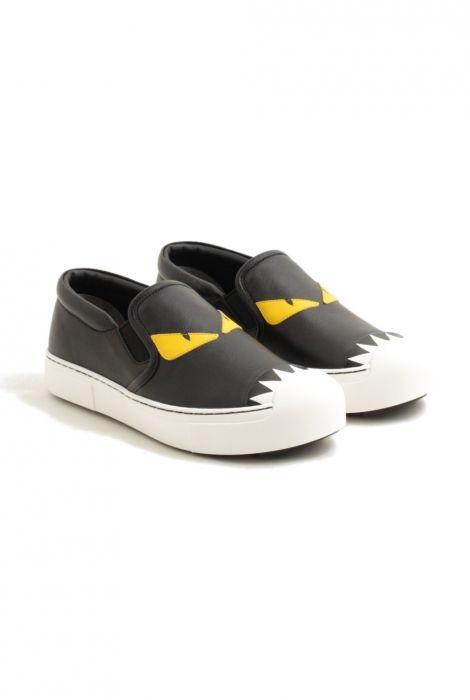 fendi slip on sneakers monster eye white black sunflow