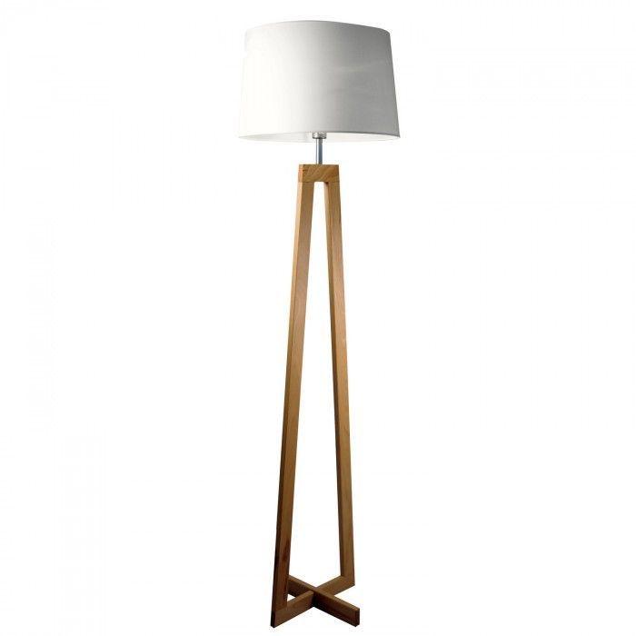 Sierlijke staanlamp met houten onderstel en stoffen lampenkap in gebroken wit.: