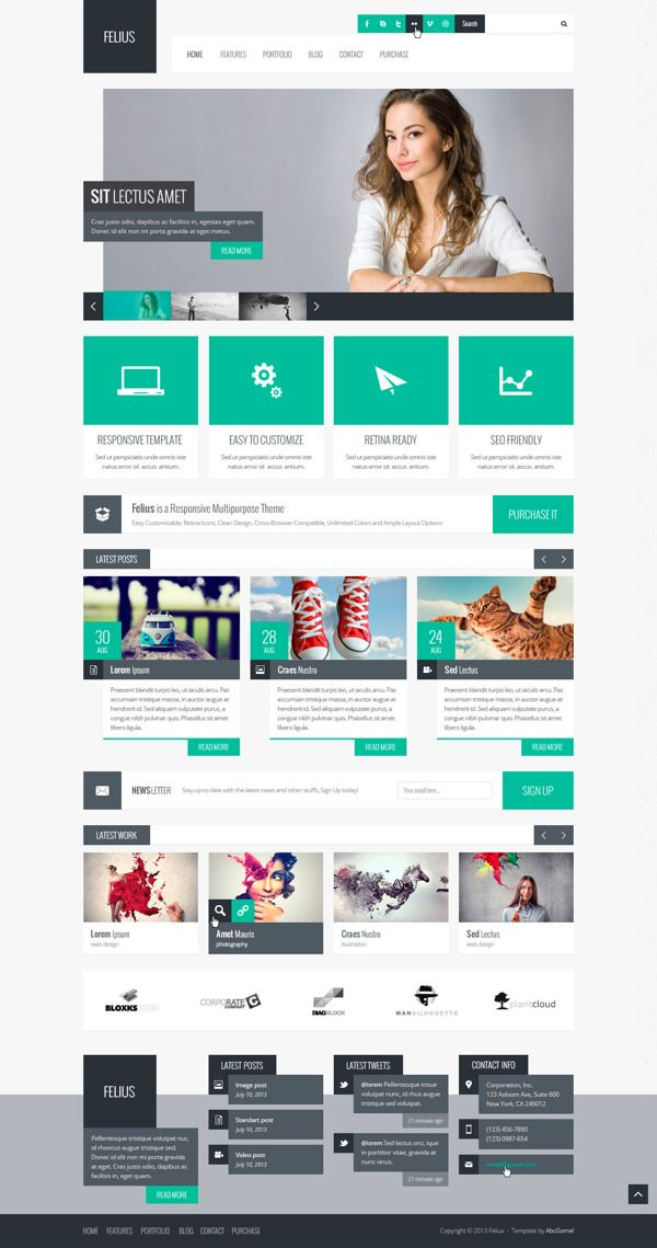 Felius – Multipurpose PSD Template on Behance