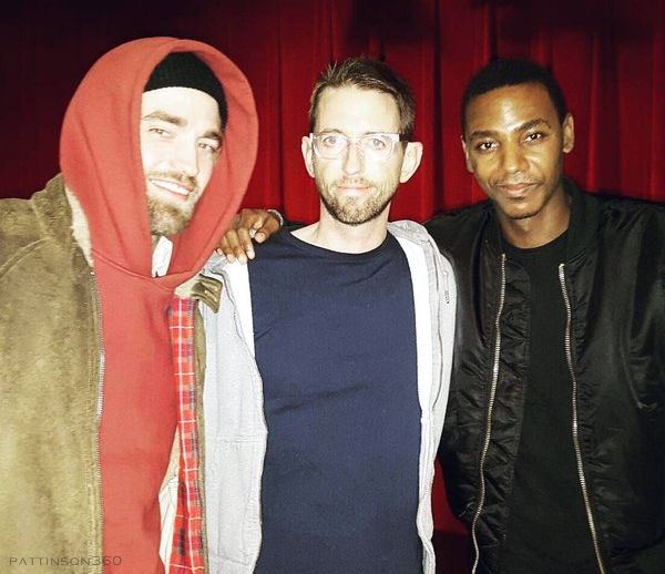"""Rob and Jamie Strachan at Neal Brennan's """"3Mics"""" comedy show at the Lynn Redgrave Theater NYC last night. Finally a new pic of Rob alongside Neal Brennan and comedian Jarrod Carmichael. March 5, 2016"""