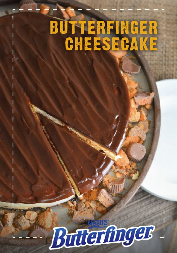 During your next celebration, serve your guests a slice of Butterfinger Cheesecake. Using crispety, crunchety, peanut-buttery BUTTERFINGER® Peanut Butter Cup Minis, top this decadent dessert with hot fudge. Click on the link to see the recipe to this yummy sweet treat.