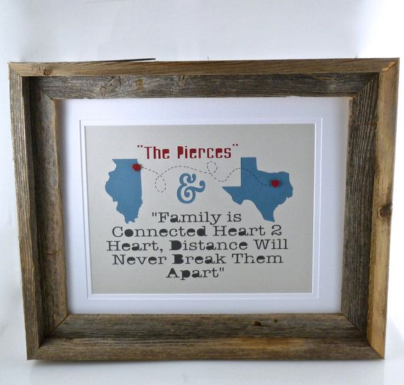 Personalized 1st Year Anniversary Gift with Barn Wood Frame - Long Distance or Moving Away Gift- First Anniversary Gift -- Paper Anniversary