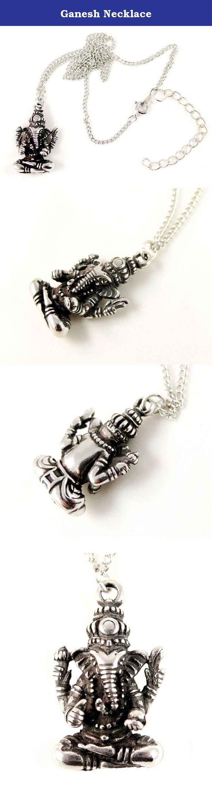 Ganesh Necklace. The Ganesh is made of a varnished clean pewter that will not change color or stain. The chain is made of copper and silver plated. Ganesh, the son of Shiva and Parvati is the god of success and wealth. The head of the elephant symbolize the soul-- the elephant totem signifies an ancient wisdom , while the human body symbolizes the illusion. Ganesh also know to bring good luck and remove obstacles. The trunk represents OM, the perfect sound of creation.