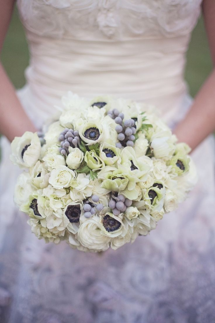 A touch of gray in the bouquet. Floral Design: Lauren Field Design - facebook.com/LaurenFieldDesign. Photography: Moondance Photography - www.moondancephotography.org  Read More: http://www.stylemepretty.com/midwest-weddings/2014/04/17/diy-farm-wedding/