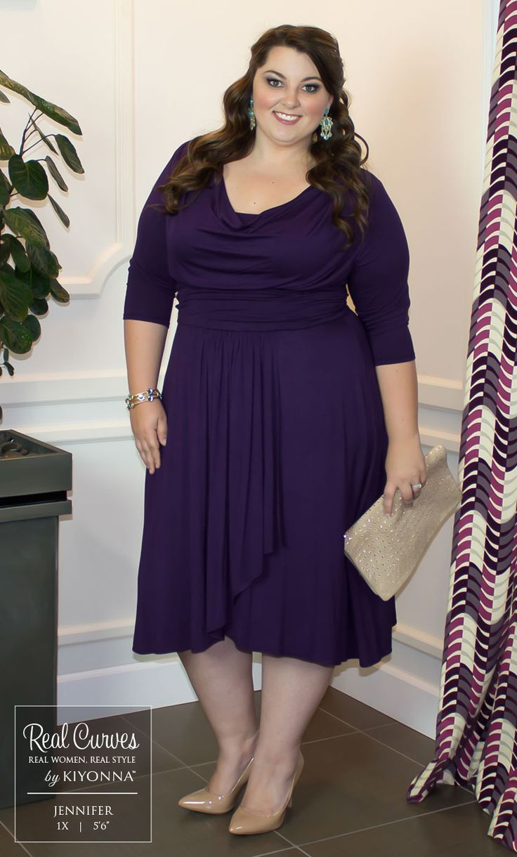 "Real Curve beauty Jennifer (5'6"") is ready for date night in our plus size Draped in Class Dress.  A nude clutch and pumps allow the dress to stand on its own, while the pop of color in the accessories complement the gorgeous purple.  www.kiyonna.com  #KiyonnaPlusYou  #Plussize  #MadeintheUSA  #Kiyonna  #OOTD"