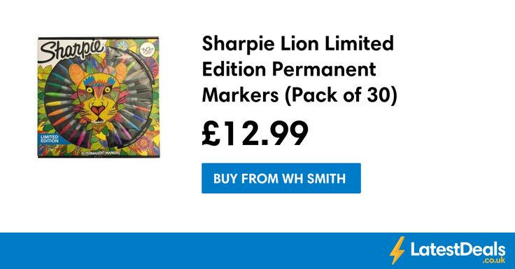 Sharpie Lion Limited Edition Permanent Markers (Pack of 30) Save £17, £12.99 at WH Smith