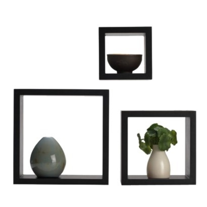 Set of 3 Square Wooden Shelves - Black. Hang to accent black frames but add 3-D touch