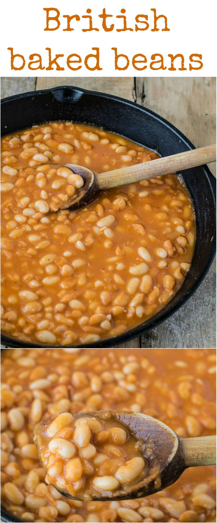 British baked beans are just like store bought but better, because they are homemade and homemade is always best. Navy beans are cooked with vegetables and flavorings in tomato sauce for a taste of a British classic.