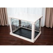 """A solid Crate Cover that comes with metal crate turning the crate into a functional """"table"""" surface while its original structure is kept intact to keep the pet confined. Easy assembly and disassembly; no hardware required. Improves functionality and appearance of pet crate without limiting visibility. Includes removable plastic tray."""