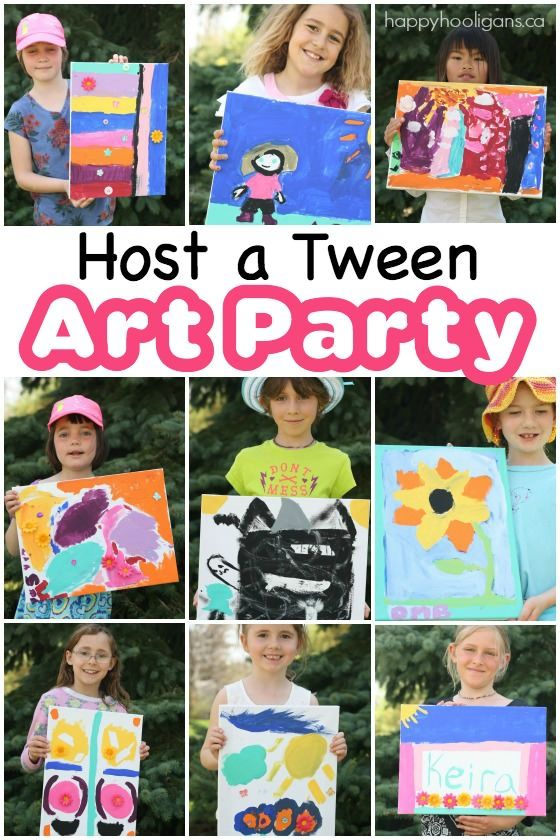 How to Host a Tween Art Party - a terrific activity for birthday parties, summer camp, large family gatherings etc.  All you need are some canvases, paint and a few dollar store craft supplies! - Happy Hooligans