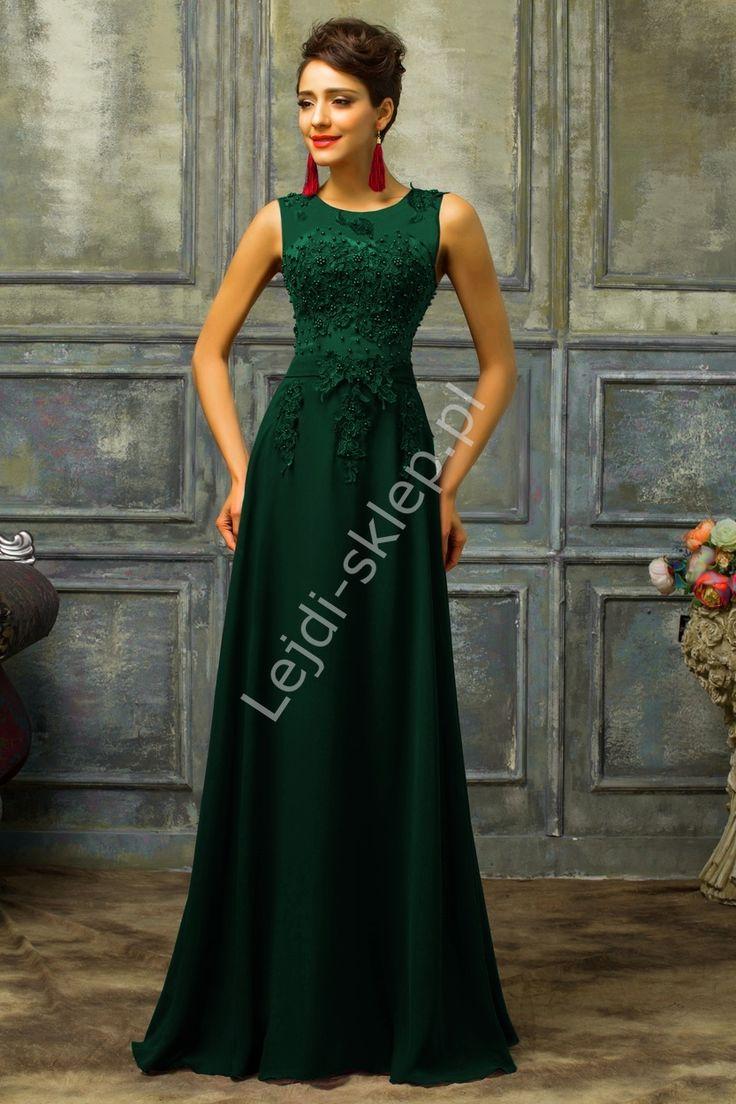 Zielona suknia z perłami | zielone długie sukienki, butelkowa zieleń