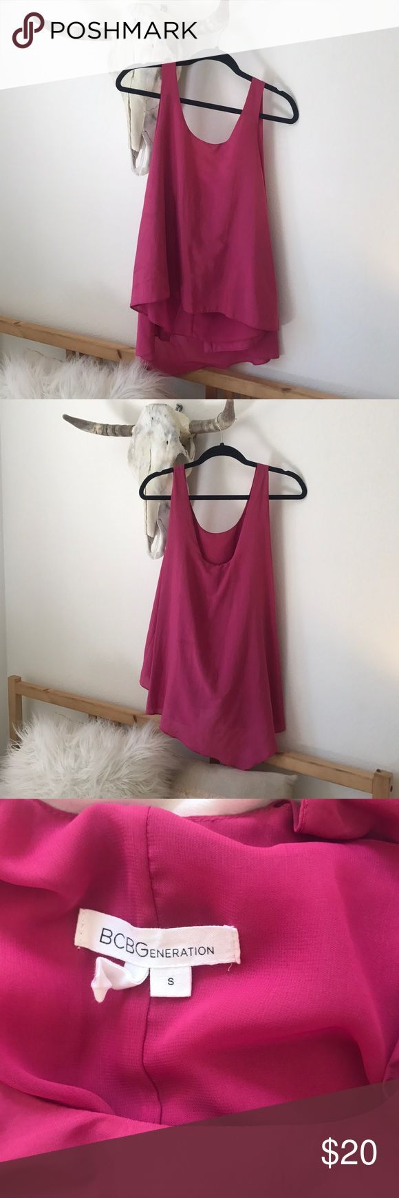 BCBGeneration Top Magenta Scoop back BCBGeneration Top Perfect condition-only worn twice! Tops Blouses