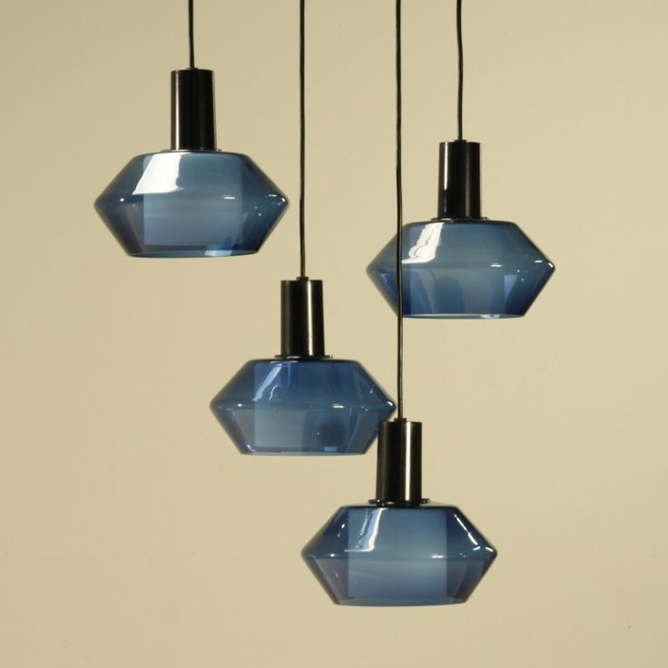 Tapio Wirkkala; #K2-140 Molded Glass and Painted Metal Ceiling Lights for Iitalla, 1950s.