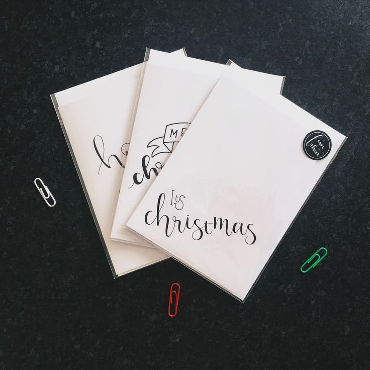 Merry Christmas, It's Christmas & Ho Ho Ho brush lettered greeting card. 100% recycled A6 white 300gsm - in stock now!