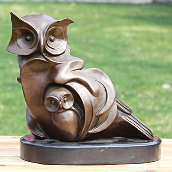 Owl Copper Sculpture Of Mother And Son Bronze Crafts Decoration Collection Home  Decoration Gift