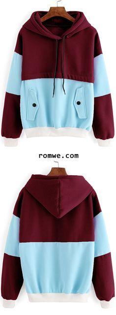 Color Block Contrast Trim Hooded Sweatshirt