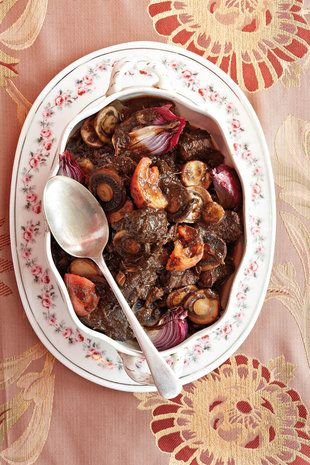 Stewed venison with mushrooms