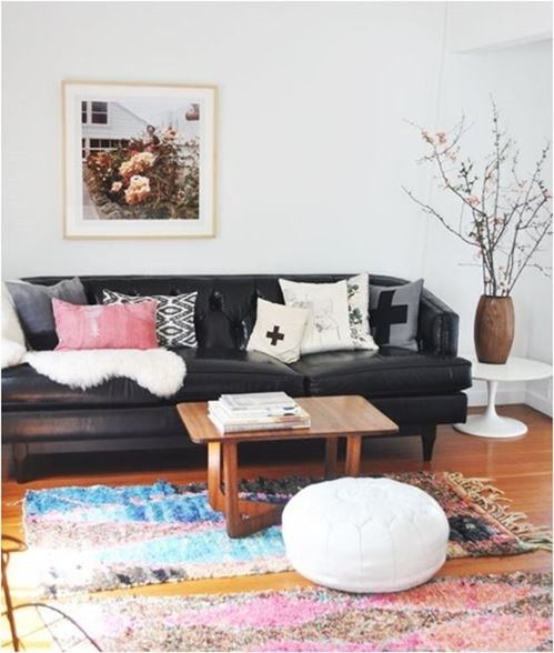 Love The Black Leather Sofa Softened With Pillows