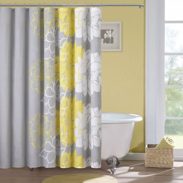 Add Contemporary Style To Your Bathroom With This Floral Showercurtain From Madison Park Which Features Cheery White And Yellowflowers