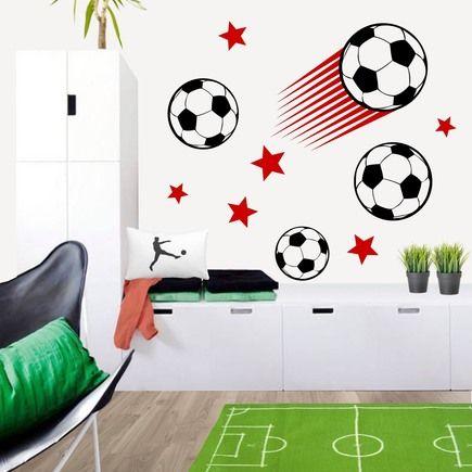 Enérgico vinilo decorativo de pelotas de fútbol y estrellas perfecto para la pared