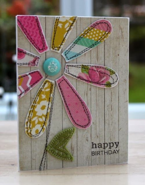 Blush Crafts: Flower card featuring fabric and felt