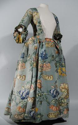 Silk gown dating from 1742, the silk was designed by Anna-Maria Garthwaite
