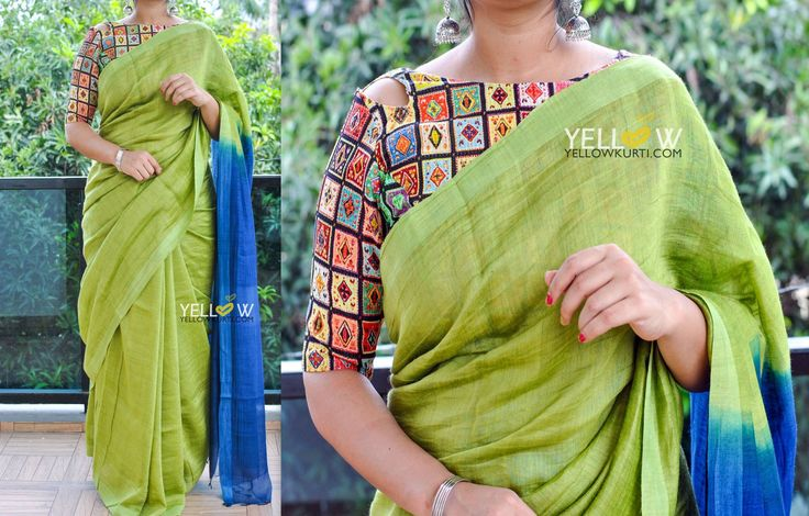 Silk Linen Saree in dual shadesBlouse - Comes with printed blouse material.Price - 3999 INR .Kindly write to us at teamyellow@yellowkurti.com or private message us here on Facebook for Orders !  19 November 2016