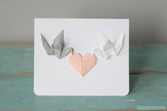 Friedenstauben grau weiß Origami Papier Kran Pfirsich Herz Karte Hochzeit Herzlichen Glückwunsch Danke Brief Braut Bräutigam benutzerdefinierte ersten 1. Jahrestag