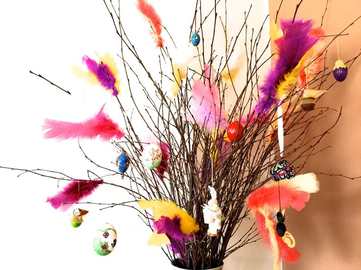 colorful swedish easter decorations