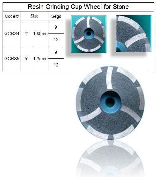 Diamond Resin Grinding Cup Wheel ~ Resin Filled Segment made by RM Tech Korea (StoneTools Korea®) provides the highest quality; world top selling more than 500 sets monthly