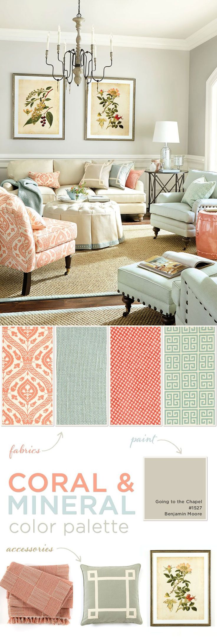 Living room color palette of coral and mineral-for the walls try Benjamin Moore Going To The Chapel