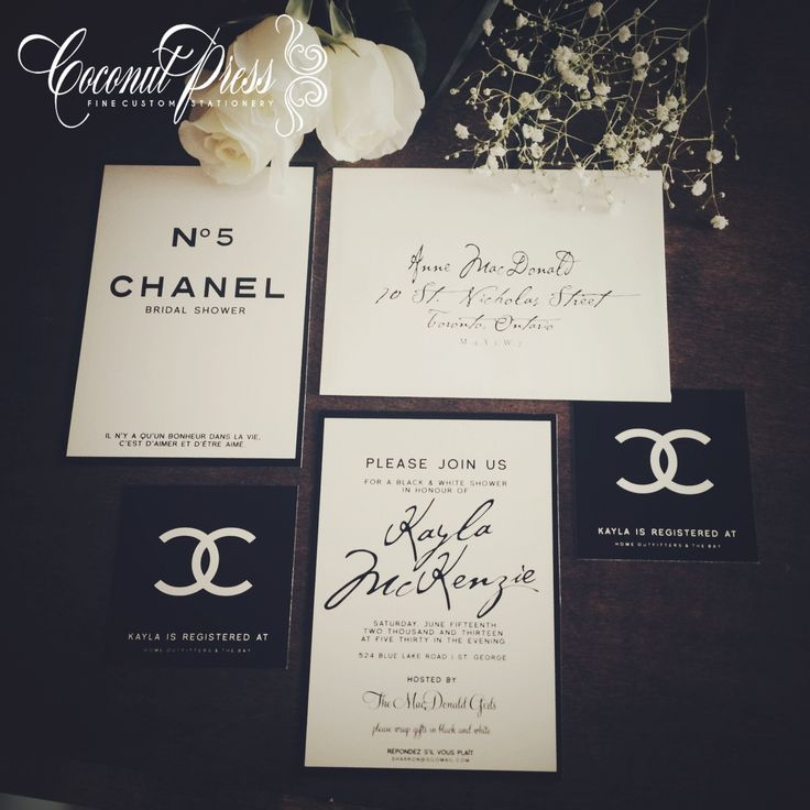 free e cards bridal shower invitations%0A Classy Black  u     White   Coco Chanel u     Inspired Bridal Shower Invitations    French Glamour