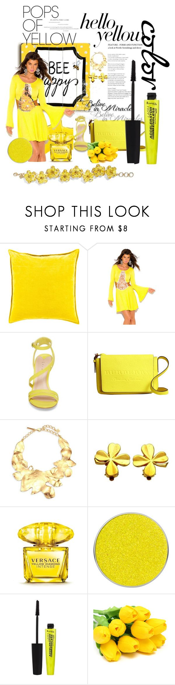 """yellow women..."" by suncenesa ❤ liked on Polyvore featuring One Bella Casa, Surya, Leith, Burberry, Oscar de la Renta, Chanel, Versace, Suva Beauty, Rimmel and PopsOfYellow"