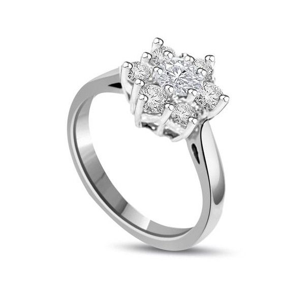 Anello Culster. Il totale carati dei diamanti per questo anello e` di 1.05ct o di 1.26ct. I diamanti sono taglio brillante montati in griffe sono disponibili da F ad H colore e da VS1 a HSI1 purezza.L`anello e` accompagnato dal certificato del diamante.La pietra centrale e` leggermente sollevata sopra il resto. Il peso dei carati per ciascun diamante e` disponibile sia di 0.15ct che 0.18ct. L`anello e` accompagnato dal certificato del diamante.