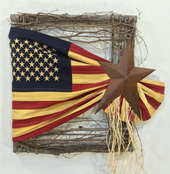 Flag Wreath, Patriotic Wreath, Americana Wreath, 4th Of July, Memorial Day, Summer Wreath, Prim Wreath, Square Wreath, USA, Prim Flag Wreath