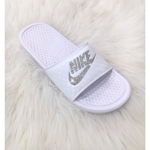 Nike Benassi Jdi Slides Flip Flops Customized With Swarovski Crystals. (£66) ❤ liked on Polyvore featuring shoes, sandals, flip flops, gold, women's shoes, swarovski crystal sandals, sparkly sandals, special occasion shoes, wrap sandals and sparkly flip flops
