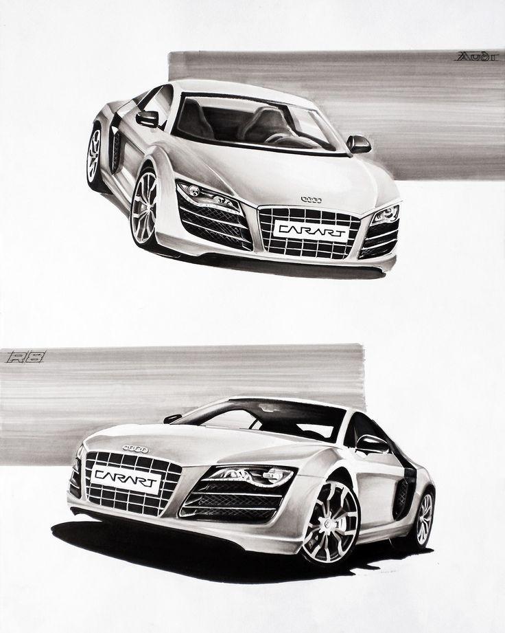 Audi R8 Markers 50x70cm drawn in 2011  by Ania Dzido