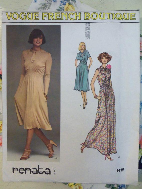 НЕРАЗРЕЗАННЫЙ винтажный 1970-х годов моде 1418 Рената платье французский бутик шаблон СЗ 12 бюст 34